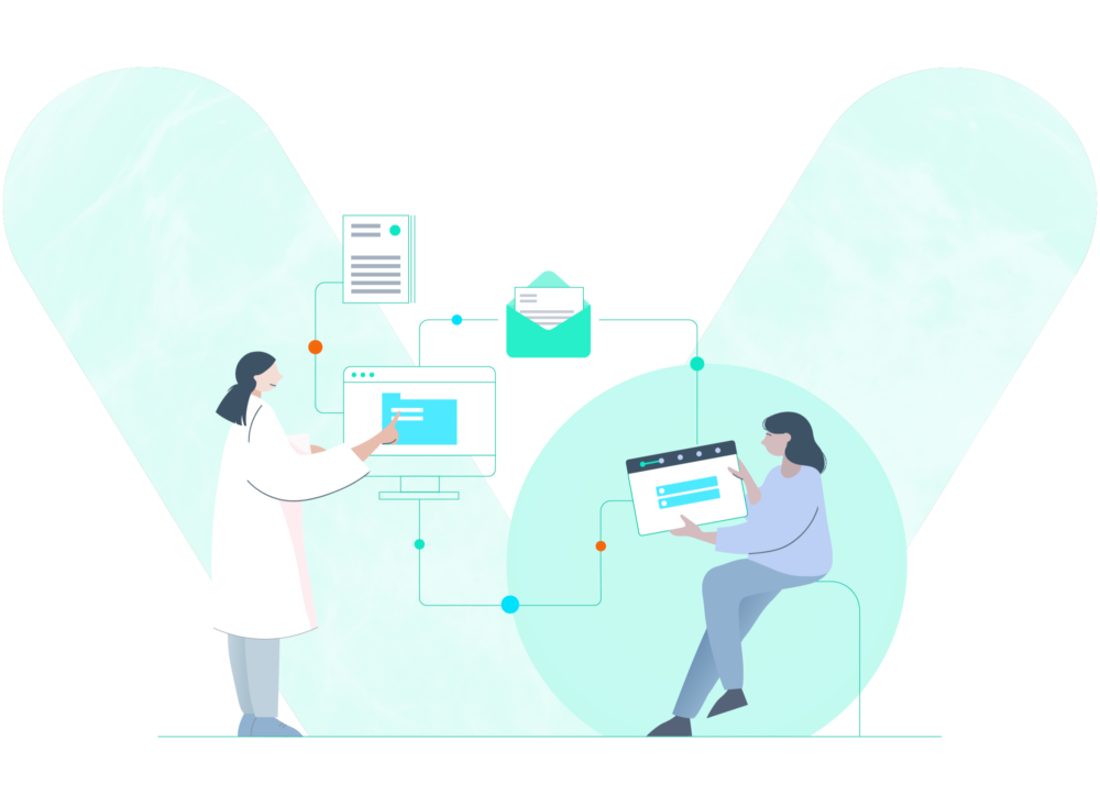 Clinic and woman using patient hub